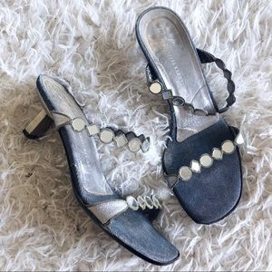 Giuseppe Zanotti denim and leather mirror heels